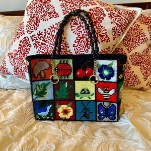 1970s needlepoint tote purse